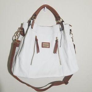 Cynthia Rowley White Tan Leather Tote Bag